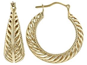 Palm Design 14K Gold Over Silver Earrings