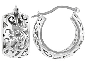 Rhodium Over Sterling Silver Filigree Huggie Earrings