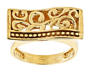 18K Yellow Gold Over Sterling Silver Scroll Work Ring