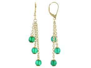 Green Onyx 18K Yellow Gold Over Sterling Silver Dangle Earrings