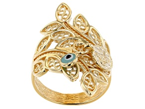 Glass Evil Eye 18k Yellow Gold Over Sterling Silver Charm Ring