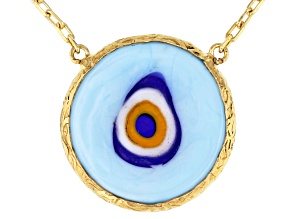 Blue Glass Evil Eye 18K Yellow Gold Over Sterling Silver Necklace