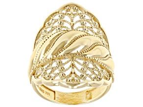 18K Gold Over Silver Swirl Filigree Ring