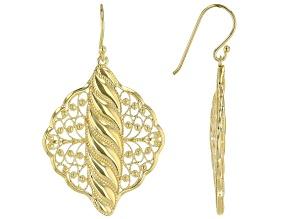 18K Gold Over Silver Dangle Filigree Earrings