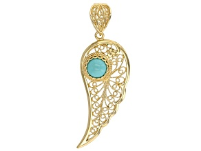 Turquoise 18k Yellow Gold Over Sterling Silver Angel Enhancer