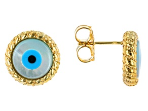 Round Mother of Pearl Evil Eye 18K Yellow Gold Over Sterling Silver Earrings