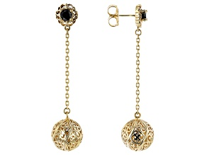 Black Spinel 18K Yellow Gold Over Sterling Silver Earrings 1.16ctw
