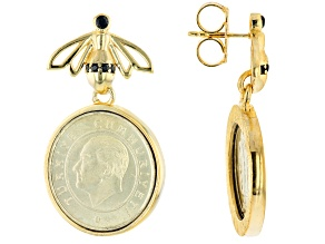 Black Spinel & Turkish Coin 18K Yellow Gold Over Sterling Silver Bee Earrings 0.20ctw
