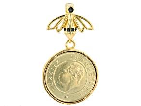 Black Spinel & Turkish Coin 18K Yellow Gold Over Sterling Enhancer Pendant