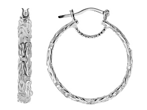 Platinum Plated Over Sterling Silver Byzantine Earrings