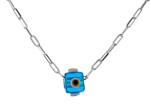 Blue Crystal Platinum Over Silver Evil Eye Necklace With Chain