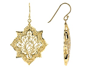 18k Yellow Gold Over Sterling Silver Earrings