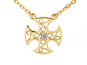White Diamond 18k Yellow Gold Over Sterling Silver Cross Necklace 0.01ct