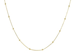 18k Yellow Gold Over Sterling Silver Station Necklace 3mm