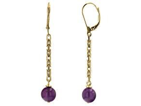 8mm Purple Amethyst 18k Yellow Gold Over Sterling Silver Earrings