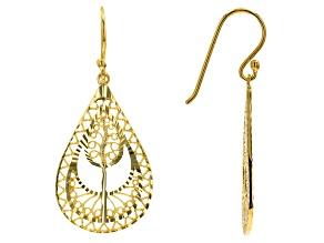 18k Yellow Gold Over Sterling Silver Dangle Earrings