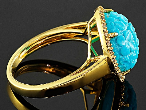 Turquoise And White Topaz 14k Yellow Gold Over Copper Ring  52ctw