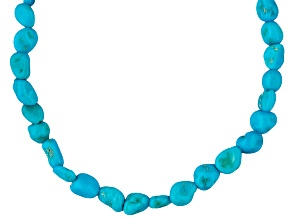 Blue turquoise silver over copper necklace