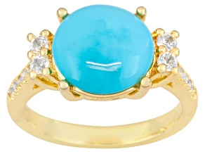 Turquoise And White Topaz 18k Gold Over Brass Ring .24ctw