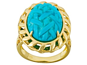 Turquoise 14k Yellow Gold Over Brass Ring