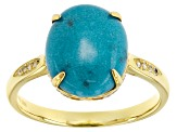 Turquoise 18k Yellow Gold Over Sterling Silver Ring .09ctw