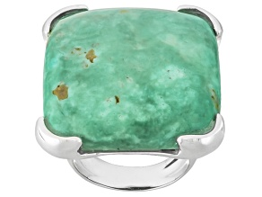 Turquoise Silver Over Brass Ring.