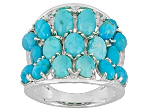 Turquoise Sterling Silver Over Brass Ring.