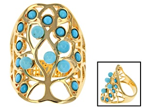 Turquoise 18k Yellow Gold Over Brass Ring.
