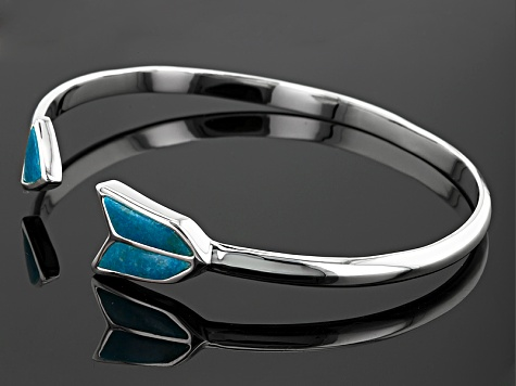 Turquoise Sterling Silver Over Brass Bangle