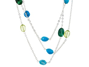 Turquoise, Peridot And Aventurine Sterling Silver Over Brass Three Strand Necklace