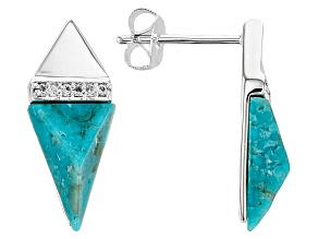 Turquoise And White Topaz Sterling Silver Over Brass Earrings