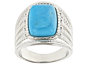 Turquoise Silver Over Brass Ring