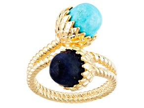 Turquoise And Lapis 18k Gold Over Brass Ring
