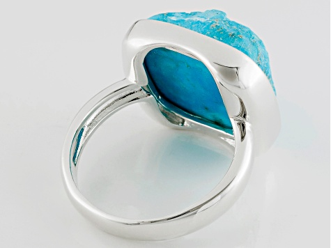 Turquoise Rough Sterling Silver Over Brass Ring