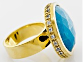 Turquoise 18k Yellow Gold Over Brass Ring  .07ctw