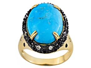 Turquoise, Black Spinel And White Topaz 18k Yellow Gold Over Brass Ring .17ctw
