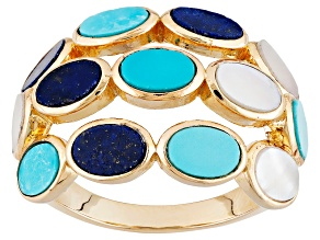 Turquoise, Lapis And Shell 18k Yellow Gold Over Brass Ring