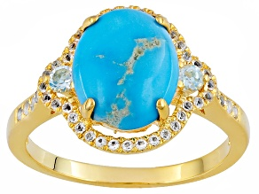 Turquoise And White Topaz 18k Yellow Gold Over Brass Ring .30ctw