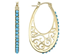 Blue Sleeping Beauty Turquoise 18k Yellow Gold Over Sterling Silver Hoop Earrings