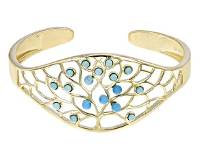 Blue Turquoise 18k Yellow Gold Over Sterling Silver Bracelet