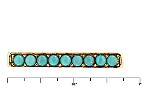 Blue Turquoise 18k Yellow Gold Over Sterling Silver 3 Ring Set .27ctw