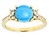 Blue Turquoise 18k Yellow Gold Over Sterling Silver Ring .30ctw