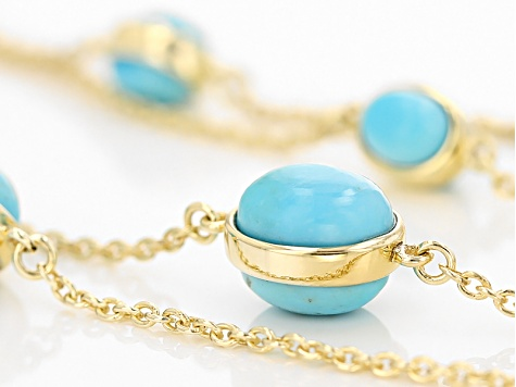 Turquoise 18k Yellow Gold Over Sterling Silver Necklace