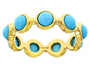 Turquoise 18k Yellow Gold Over Sterling Silver Ring
