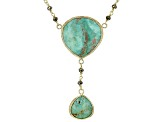 Green Kingman Turquoise 18k Yellow Gold Over Sterling Silver Necklace