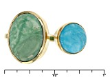 Green Kingman Turquoise 18k Yellow Gold Over Sterling Silver Ring