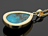 Turquoise 18k Yellow Gold Over Sterling Silver Pendant
