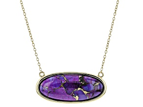 Purple Turquoise 18k Yellow Gold Over Sterling Silver Necklace