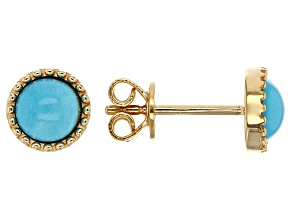 Turquoise 18k Yellow Gold Over Sterling Silver Earrings