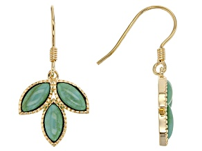 Green Turquoise 18k Yellow Gold Over Sterling Silver Earrings